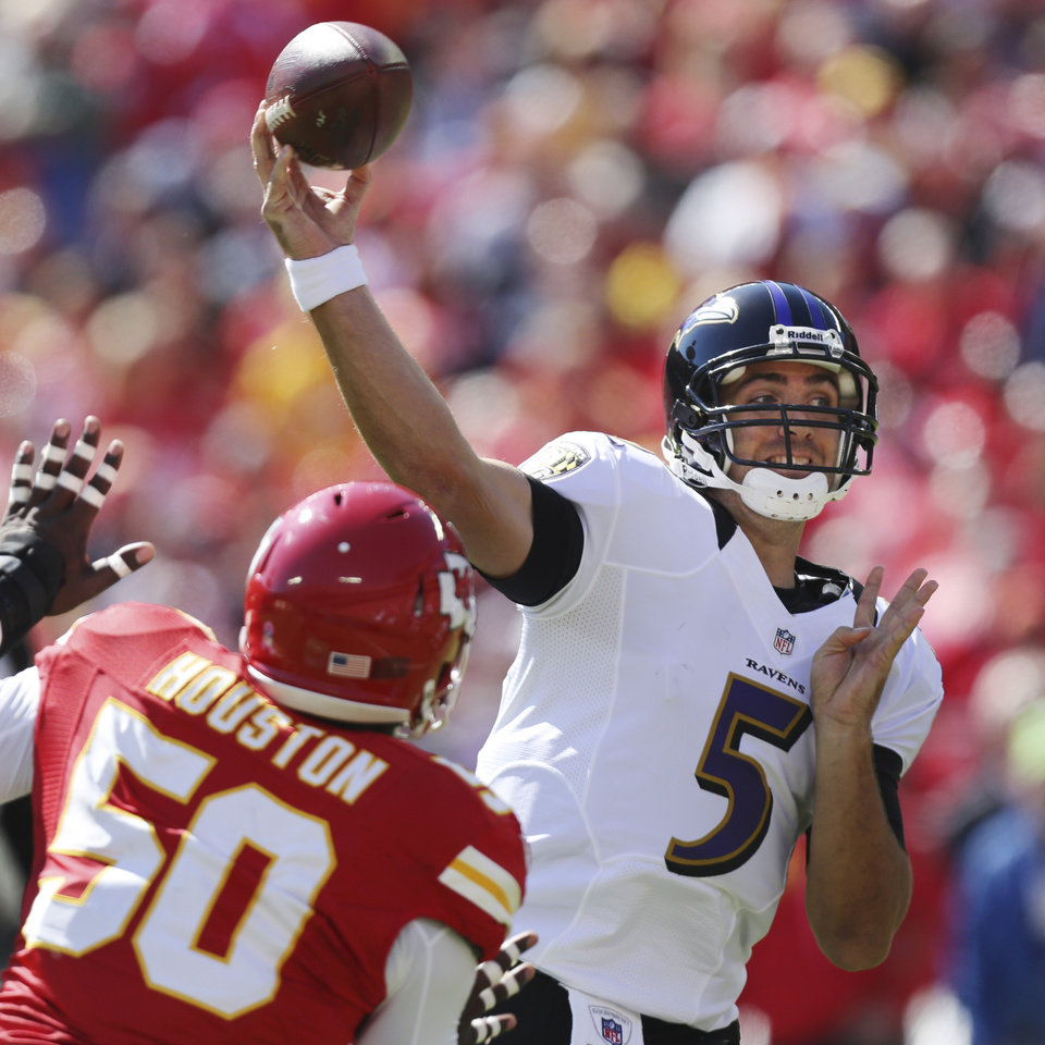 Photo -   Baltimore Ravens quarterback Joe Flacco (5) passes to a teammate while pressured by Kansas City Chiefs outside linebacker Justin Houston (50) during the first half of an NFL football game at Arrowhead Stadium in Kansas City, Mo., Sunday, Oct. 7, 2012. (AP Photo/Ed Zurga)