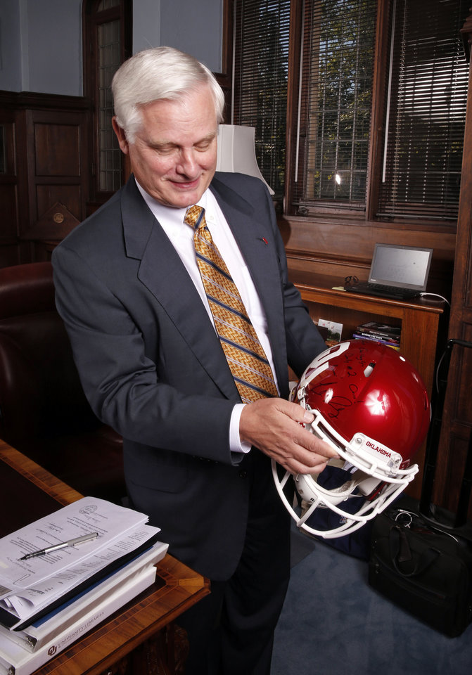 Photo - University of Oklahoma (OU) president Jim Gallogly is seen in his office on Friday, Sept. 14, 2018 in Norman, Okla.  Photo by Steve Sisney, The Oklahoman