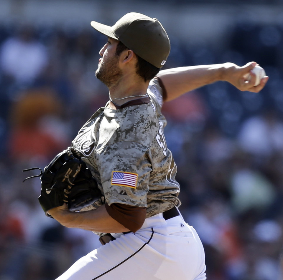 San Diego Padres closer Huston Street pitches in the ninth inning of their 6-4 win over the San Francisco Giants in a baseball game in San Diego, Sunday, April 28, 2013. (AP Photo/Lenny Ignelzi)