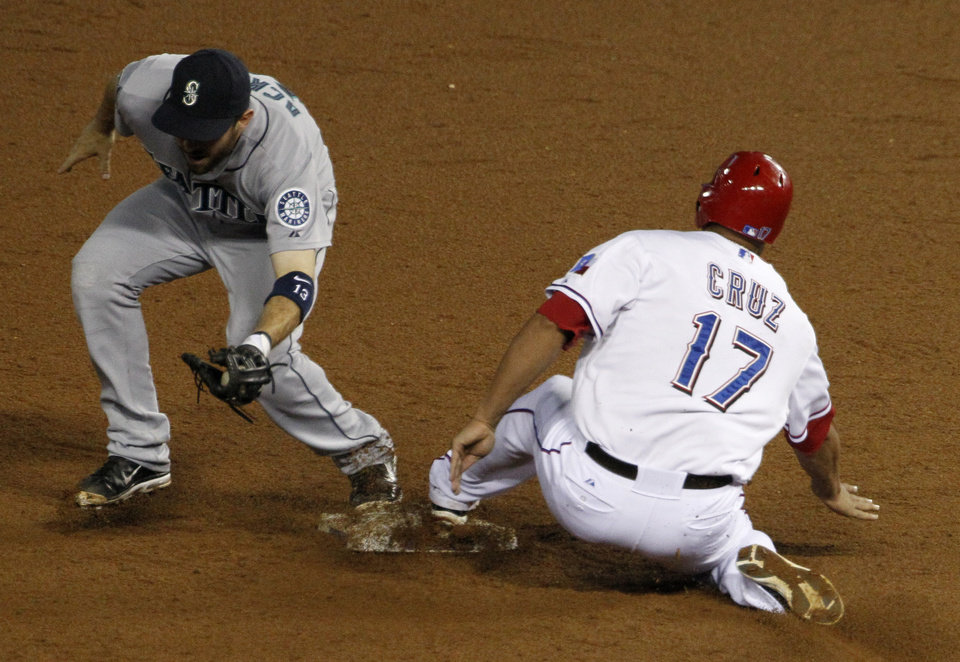 Photo -   Seattle Mariners second baseman Dustin Ackley (13) tags out Nelson Cruz (17) who was trying to get back to second after David Murphy flied out to short for a double play in the sixth inning of a baseball game Friday, Sept. 14, 2012, in Arlington, Texas. (AP Photo/Tony Gutierrez)