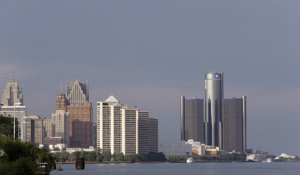 Photo - The Detroit skyline is seen on Thursday, July 18, 2013, in Detroit. On Thursday the city became the largest city in U.S. history to file for bankruptcy when State-appointed emergency manager Kevyn Orr asked a federal judge for municipal bankruptcy protection. (AP Photo/Carlos Osorio)