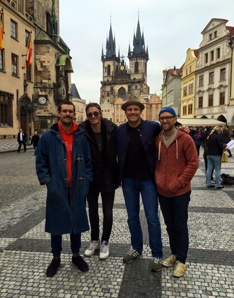 Photo -  From left, Jarod Evans, Chad Copelin, Brantley Cowan and Dustin Paige stand in Prague during a trip to record new music. [Photo provided]