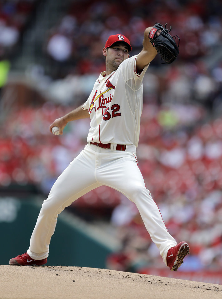 Photo - St. Louis Cardinals starting pitcher Michael Wacha throws during the first inning of a baseball game against the San Francisco Giants Saturday, May 31, 2014, in St. Louis. (AP Photo/Jeff Roberson)