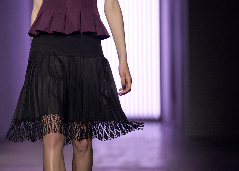 Photo - A model walks the runway during the Rebecca Taylor Fall 2013 fashion show during Fashion Week, Saturday, Feb. 9, 2013, in New York. (AP Photo/Karly Domb Sadof)