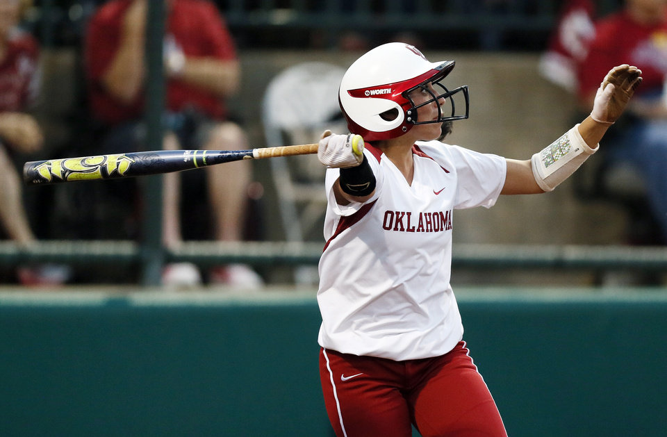 OU's Destinee Martinez (00) drives in a run on a sacrifice fly ball in the 2nd inning during an NCAA softball game between OU and Marist in the Oklahoma Regional in Norman, Okla., Friday, May 17, 2013. Oklahoma won 17-0 in 5 innings. Photo by Nate Billings, The Oklahoman