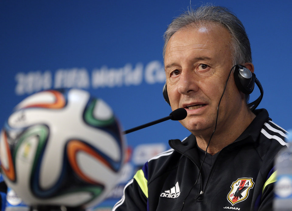 Photo - Japan soccer team coach Alberto Zaccheroni speaks during a pressed conference at the Arena Pantanal in Cuiaba, Brazil, Monday, June 23, 2014.  Japan play in group C of the 2014 soccer World Cup. (AP Photo/Shuji Kajiyama)