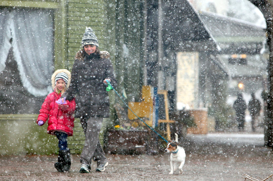 Photo - Ember Pedersen, 6, left, Lani Pedersen and their dog Tucker walk along Main Ave. in historic downtown Northport, Ala. Thursday, Jan. 17, 2013. A wet blanket of snow covered much of West Alabama Thursday morning.   (AP Photo/The Tuscaloosa News,Dusty Compton )