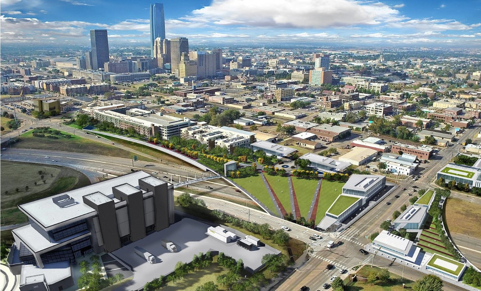 Photo -  A park and development over Interstate 235 between downtown and the Oklahoma Health Center is one of several