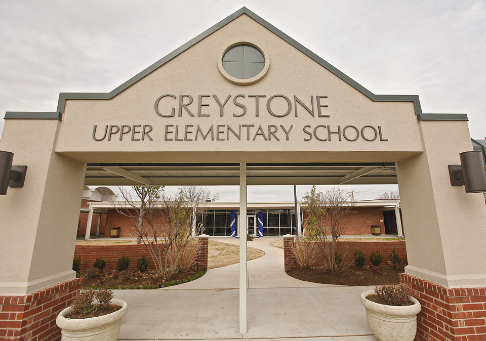 The entry of the school during the grand opening celebration of Greystone Upper Elementary School on Friday, Feb. 17, 2012, in Oklahoma City, Okla. Photo by Chris Landsberger, The Oklahoman