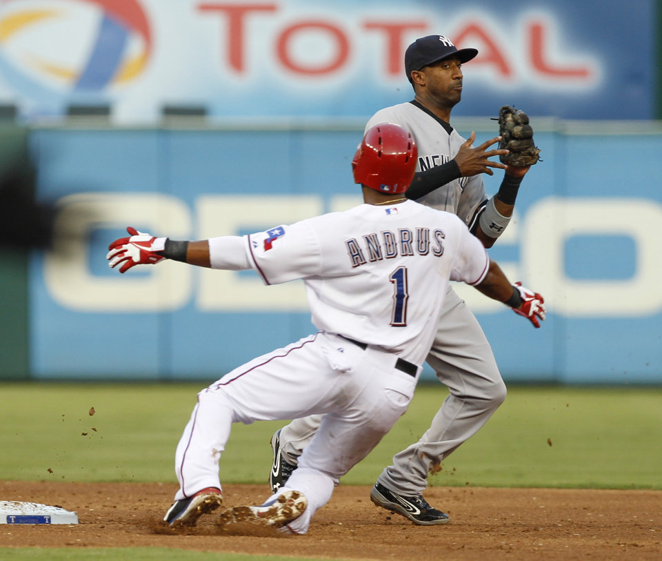 Photo - New York Yankees shortstop Eduardo Nunez steps away after forcing out Texas Rangers' Elvis Andrus during the third inning of a baseball game, Wednesday, July 24, 2013, in Arlington, Texas. Nelson Cruz was safe at first. (AP Photo/Jim Cowsert)