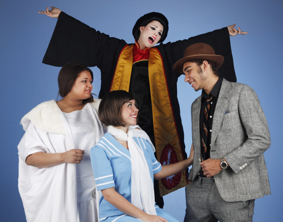 "From left: Ivy Whitten as Muzzy Van Hossmere, Kendall Haliburton as Millie, Forrest Wright as Jimmy and Rylee Flowers as Ms. Meers in back at the photo call for Putnam City North production of ""Thoroughly Modern Millie"" at OPUBCO studio Tuesday March 6, 2012. Photo by Doug Hoke, The Oklahoman"