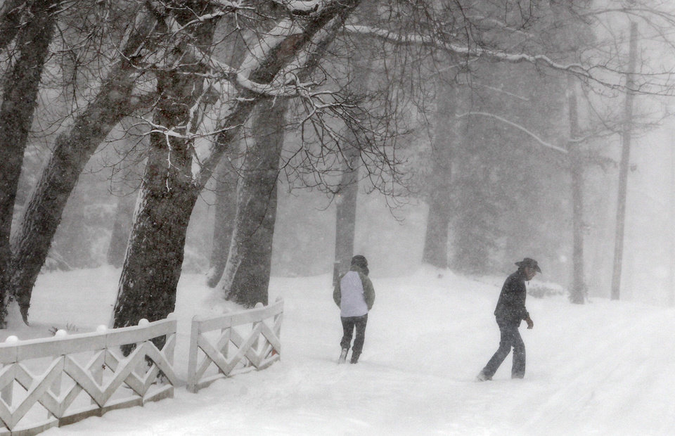 Photo - A couple walks through the winter white-out on Swan Avenue in Webster Groves, Mo., Sunday, Jan. 5, 2014. (AP Photo/St. Louis Post-Dispatch, J.B. Forbes)