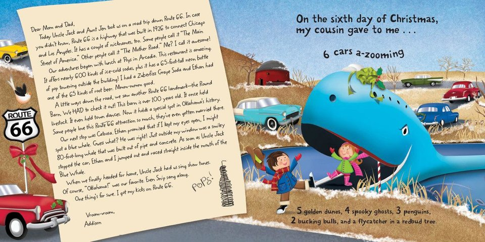 "From ""The Twelve Days of Christmas in Oklahoma,"" written by Tammi Sauer and illustrated by Victoria Hutto, this page features the Blue Whale of Catoosa on Route 66. Photo provided. <strong></strong>"