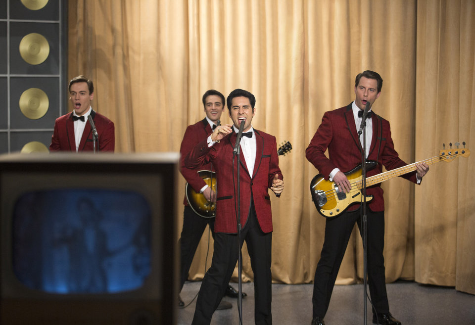 Photo - This photo released by Warner Bros. Pictures shows, from left, Erich Bergen as Bob Gaudio, Vincent Piazza as Tommy DeVito, John Lloyd Young as Frankie Valli and Michael Lomenda as Nick Massi in Warner Bros. Pictures' musical
