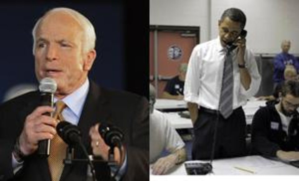Photo - Left: Republican presidential candidate Sen. John  McCain, R-Ariz., begins to choke up at the conclusion of his address to supporters during the last rally in his 2008 presidential campaign at Grand Junction, Colo., Tuesday afternoon. Nov. 4, 2008. (AP Photo/Stephan Savoia). Right: Democratic presidential candidate Sen. Barack  Obama, D-Ill., center, talks on the phone with a voter at the UAW Local 550 Union Hall in Indianapolis, Tuesday, Nov. 4, 2008. (AP Photo/Jae C. Hong)
