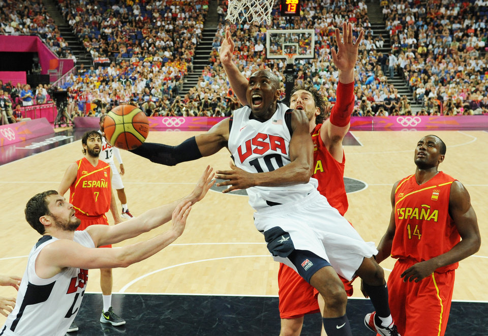 The United States\' Kobe Bryant jumps to score during the men\'s gold medal basketball game at the 2012 Summer Olympics in London on Sunday, Aug. 12, 2012. (AP Photo/Mark Ralston, Pool)