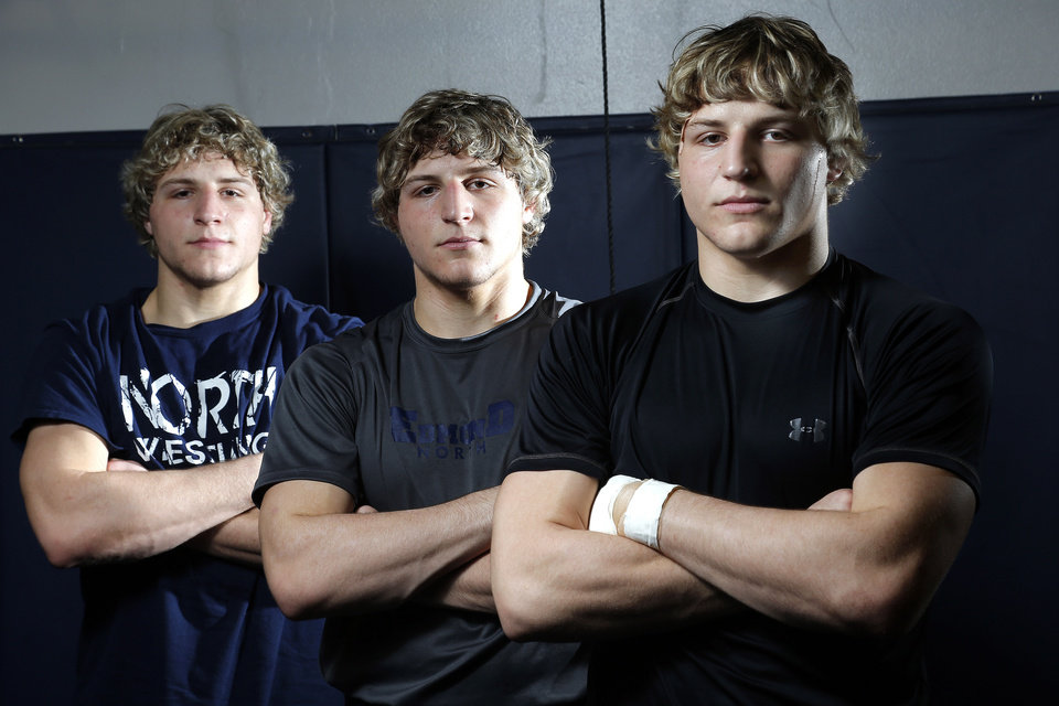 LANCE DIXON / JOEL DIXON / HIGH SCHOOL WRESTLING: From left to right, Edmond North wrestlers , Lance, Joel and Andrew Dixon poses for a picture at Edmond North High School in Edmond, Okla.,  Thursday, Feb. 7, 2013.Photo by Sarah Phipps, The Oklahoman