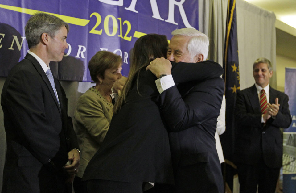 Photo -   Sen. Richard Lugar hugs Kelly Lugar following a concession speech Tuesday, May 8, 2012, in Indianapolis. Lugar lost his Republican Senate primary on Tuesday to state Treasurer Richard Mourdock. (AP Photo/Darron Cummings)
