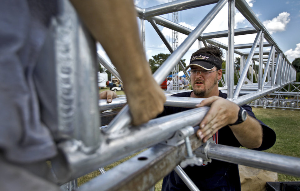 James Villegas aligns structure beams for the stage assembly during setup for the Arts Festival Oklahoma at Oklahoma City Community College on Tuesday, Aug. 31, 2010, in Oklahoma City, Okla.  Photo by Chris Landsberger, The Oklahoman