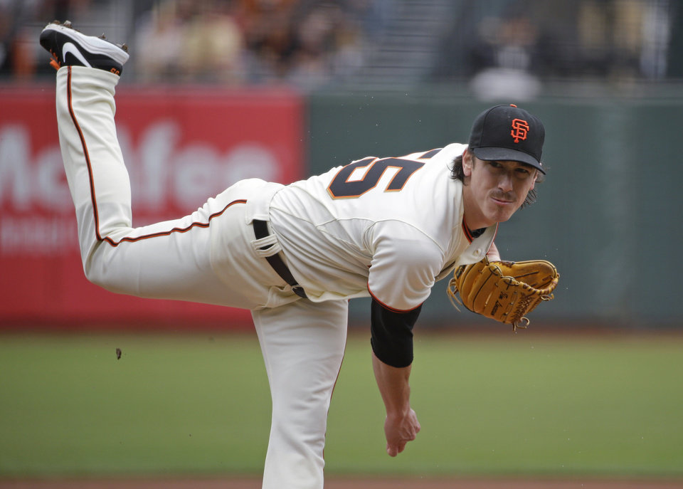 Photo - San Francisco Giants starting pitcher Tim Lincecum watches a delivery to the San Diego Padres in the first inning of a baseball game Wednesday, June 25, 2014, in San Francisco. Lincecum threw his second career no-hitter as San Francisco won 4-0. (AP Photo/Eric Risberg)