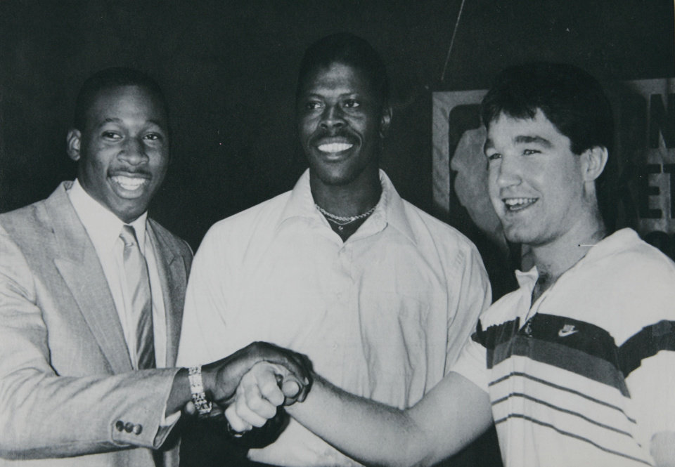 Photo - Former OU basketball player Wayman Tisdale. NEW YORK, June 17 --NBA DRAFT -- Three top choices for the NBA draft, scheduled for Tuesday, talk before a press conference in New York Monday, Left to Right, Wayman Tisdale of Oklahoma, Patrick Ewing of Georgetown and Chris Mullin of St. Johns. (AP laserphoto) (crv21410stf/dave pickoff) 1985. 6-18-85 ORG XMIT: KOD