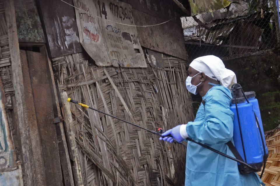 Photo - A Liberian health worker spray disinfectant outside a house before entering and removing the body of a man that they believe died from the Ebola virus  in Monrovia, Liberia, Friday, Aug. 29, 2014.  The Ebola outbreak in West Africa eventually could exceed 20,000 cases, more than six times as many as are now known, the World Health Organization said Thursday. A new plan released by the U.N. health agency to stop Ebola also assumes that the actual number of cases in many hard-hit areas may be two to four times higher than currently reported.(AP Photo/Abbas Dulleh)