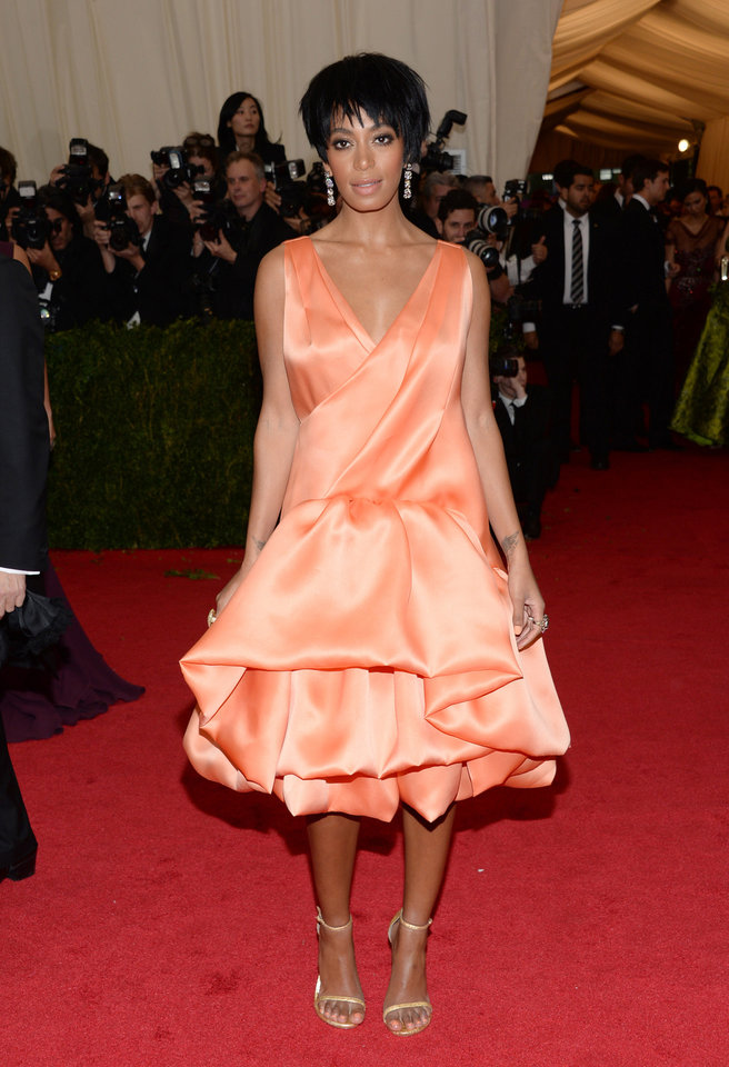 Photo - FILE - This May 5, 2014 file photo shows Solange Knowles, sister of Beyonce Knowles, at The Metropolitan Museum of Art's Costume Institute benefit gala celebrating