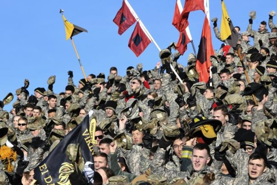 Photo -  Cadets cheer Army during a 21-16 win against Duke at Michie Stadium on Nov. 11, 2017. [AP Photo/Hans Pennink]