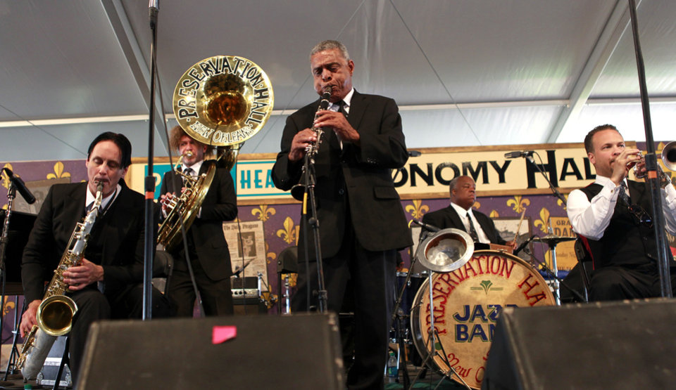 Photo -   The Preservation Hall Jazz band performs at the New Orleans Jazz and Heritage Festival in New Orleans, Saturday, May 5, 2012. (AP Photo/Gerald Herbert)