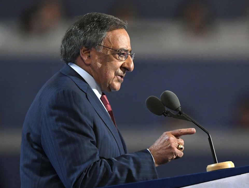 Photo - Former Defense Secretary Leon Panetta, speaks during the third day of the Democratic National Convention in Philadelphia , Wednesday, July 27, 2016. (AP Photo/Mark J. Terrill)