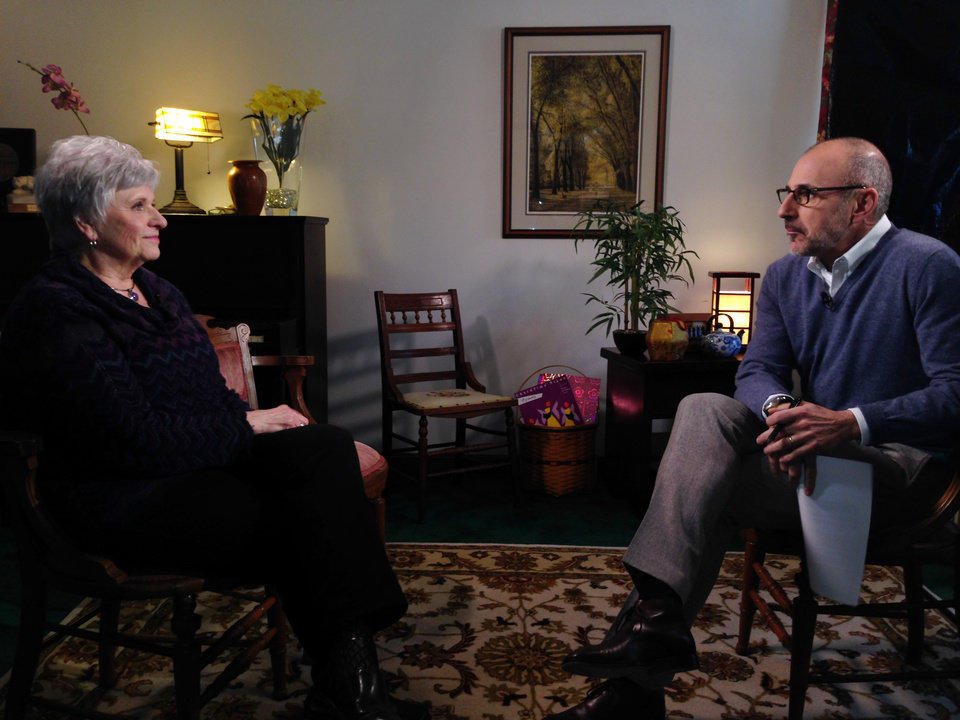 Photo - In this Monday, March 10, 2014 photo provided by NBC News, Matt Lauer, right, talks with Dottie Sandusky, wife of former Penn State assistant football coach Jerry Sandusky, during an interview that aired on NBC's