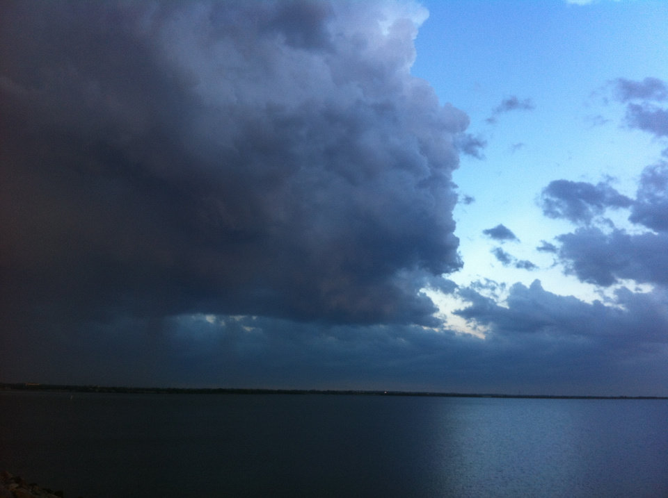 Storms moving northeast across Lake Hefner. Photo by Robert Medley