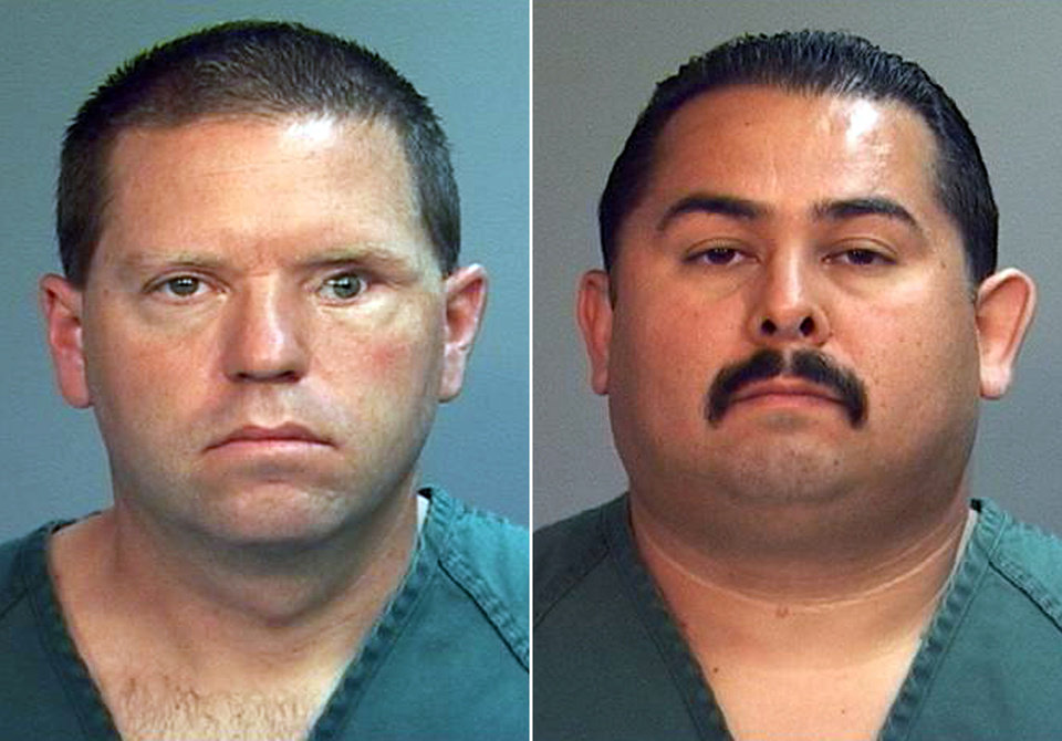 This combo made from file photos provided by the Orange County District Attorney's office shows Fullerton Police Officers Jay Cicinelli, left, and Manuel Ramos. A judge on Monday, May 7, 2012 will weigh whether there�s enough evidence to try the two officers, who are charged with one count each of second-degree murder and involuntary manslaughter in the death of 37-year-old Kelly Thomas after a violent confrontation with officers on July 5. (AP Photo/Orange County District Attorney, File)