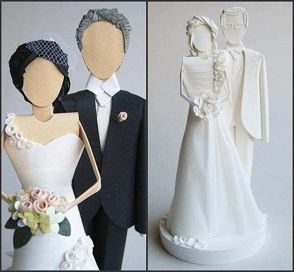 Photo - When the champagne and cake are gone, you can still display the modern take on a cake topper, like these paper sculpted wedding-cake toppers from Concarta. (Courtesy Concarta via Los Angeles Times/MCT)