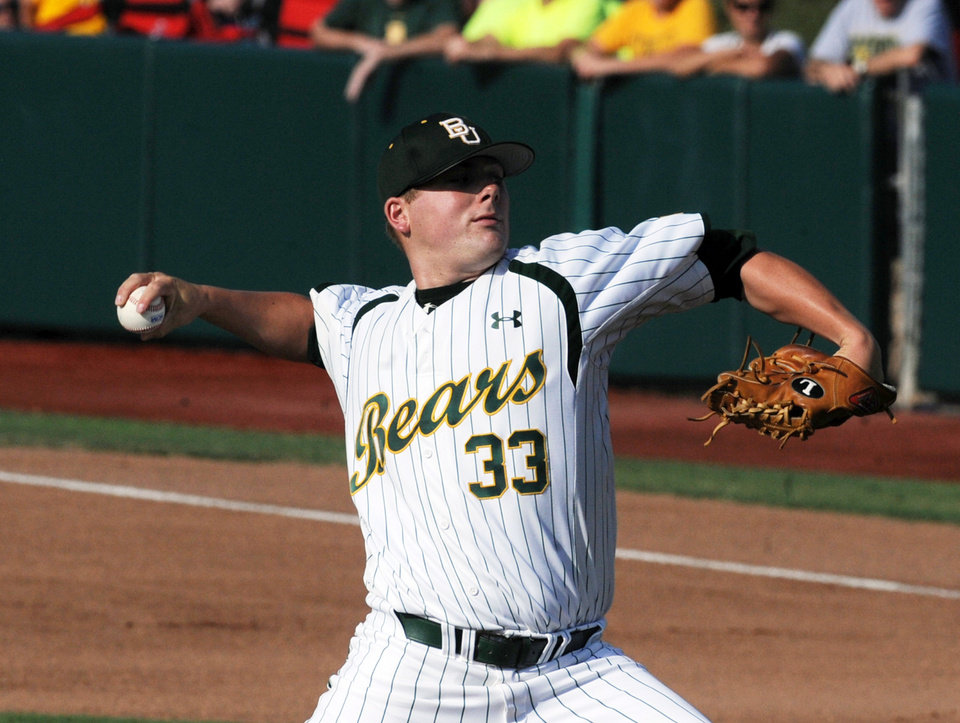 Photo -   Baylor starting pitcher Tyler Bremer throws against Arkansas during an NCAA college baseball tournament super regional game, Monday, June 11, 2012, in Waco, Texas. (AP Photo/Waco Tribune Herald, Rod Aydelotte)