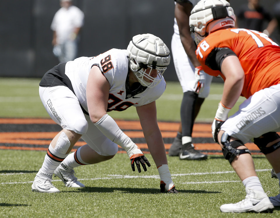 Photo - Oklahoma State's Brendon Evers (98) lines up during the Oklahoma State Cowboys spring practice at Boone Pickens Stadium in Stillwater, Okla., Saturday, April 20, 2019.  Photo by Sarah Phipps, The Oklahoman