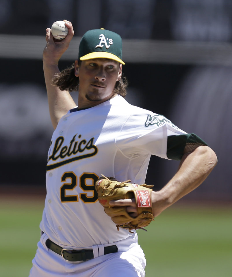 Oakland Athletics\' Jeff Samardzija works against the Toronto Blue Jays in the first inning of a baseball game Sunday, July 6, 2014, in Oakland, Calif. (AP Photo/Ben Margot)