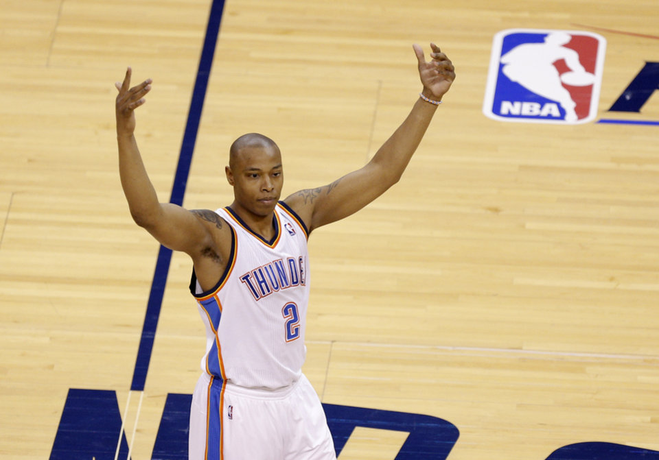 Photo - Oklahoma City's Caron Butler (2) celebrates during Game 7 in the first round of the NBA playoffs between the Oklahoma City Thunder and the Memphis Grizzlies at Chesapeake Energy Arena in Oklahoma City, Saturday, May 3, 2014. Photo by Sarah Phipps, The Oklahoman