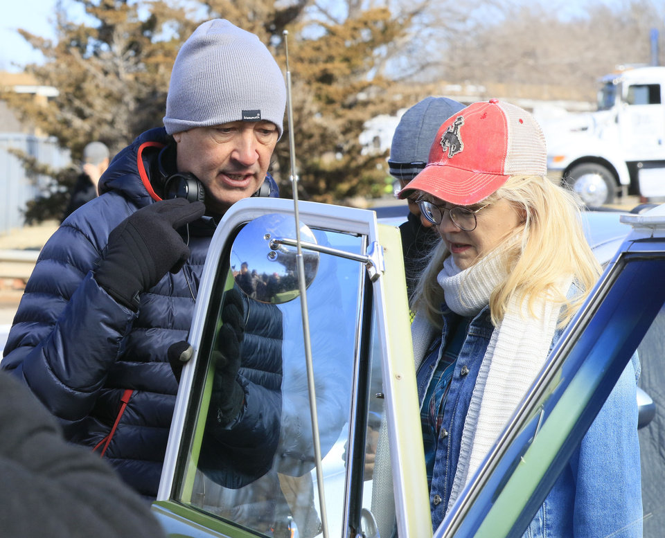 Photo -  Director Harvey Lowry talks with actress Shelley Long about a scene for