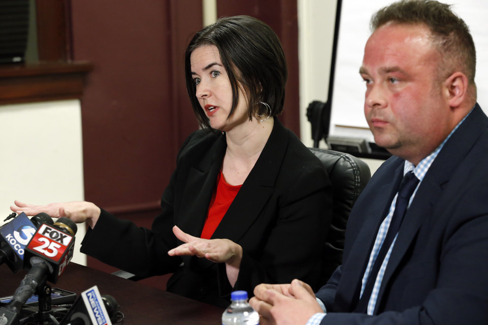 Photo - Acting Oklahoma City Public Schools Superintendent Rebecca Kaye and board member Jace Kirk, right, answer questions on preparations for an impeding teacher's strike on Thursday, March 15, 2018 in Oklahoma City, Okla.  Photo by Steve Sisney, The Oklahoman