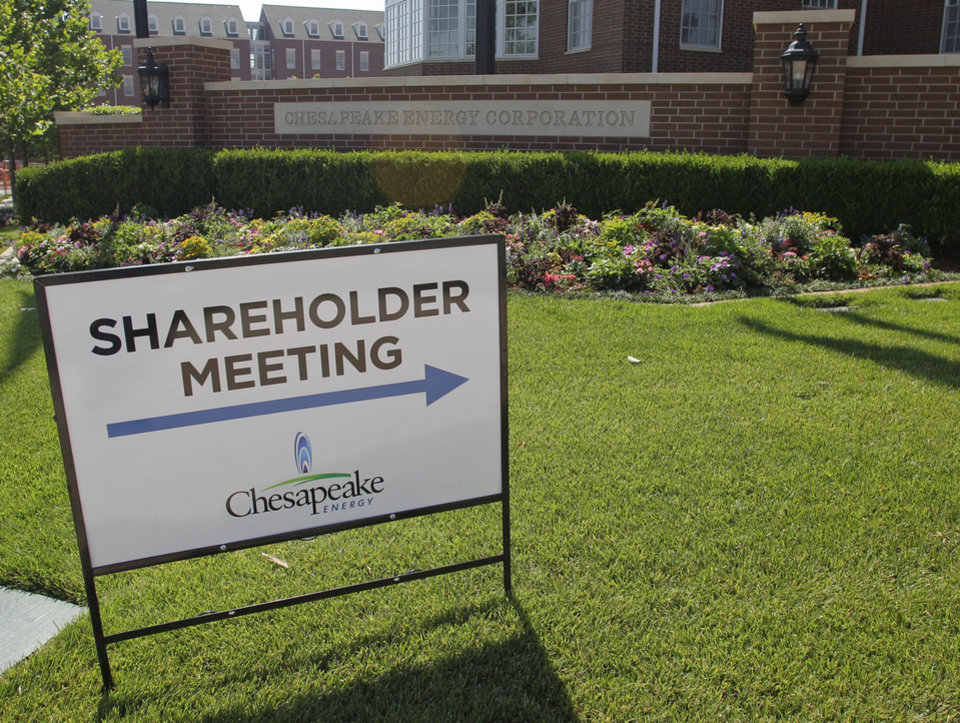 A sign stands in front of the Chesapeake Energy Corp. campus in Oklahoma City, Friday, June 8, 2012, where the annual shareholders meeting took place. AP FILE PHOTO <strong>Sue Ogrocki - AP</strong>