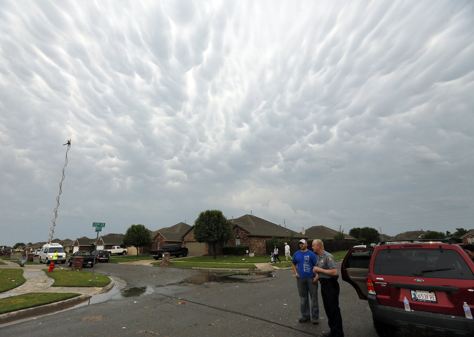 Clouds over the Stone Meadow neighborhood south of SW 149th between Western and Hudson after a tornado struck south Oklahoma City and Moore, Okla., Monday, May 20, 2013. Photo by Nate Billings, The Oklahoman