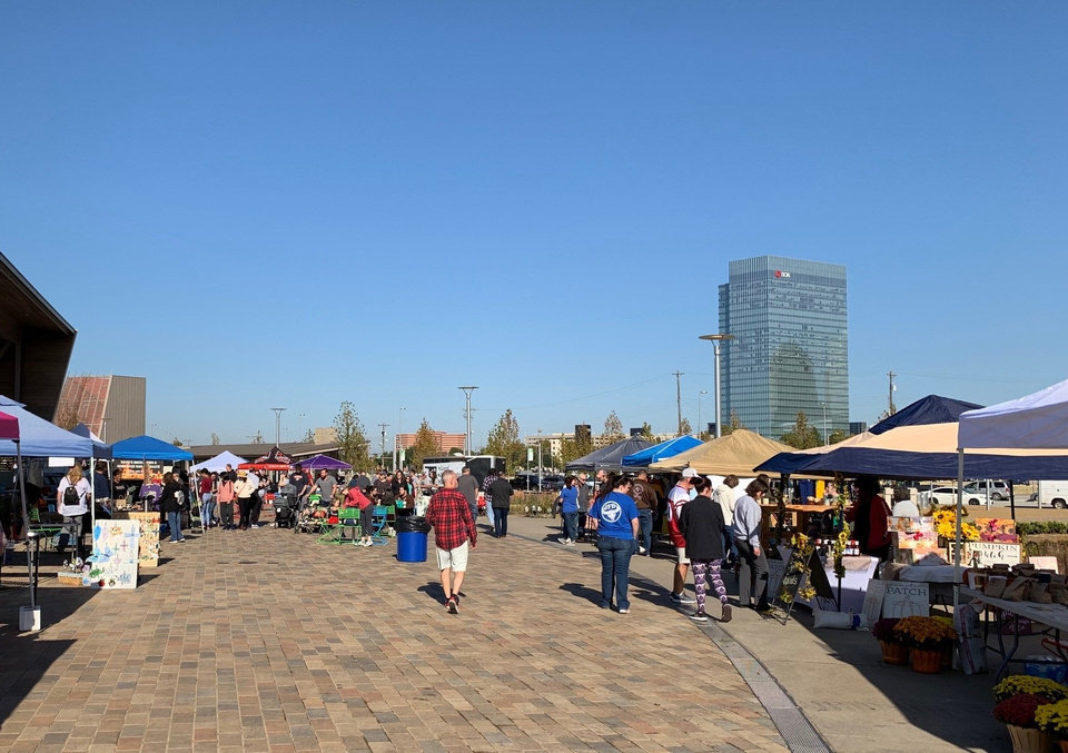 Photo - A farmers market hosted at Scissortail Park this fall drew crowds to the new downtown destination. Provided.