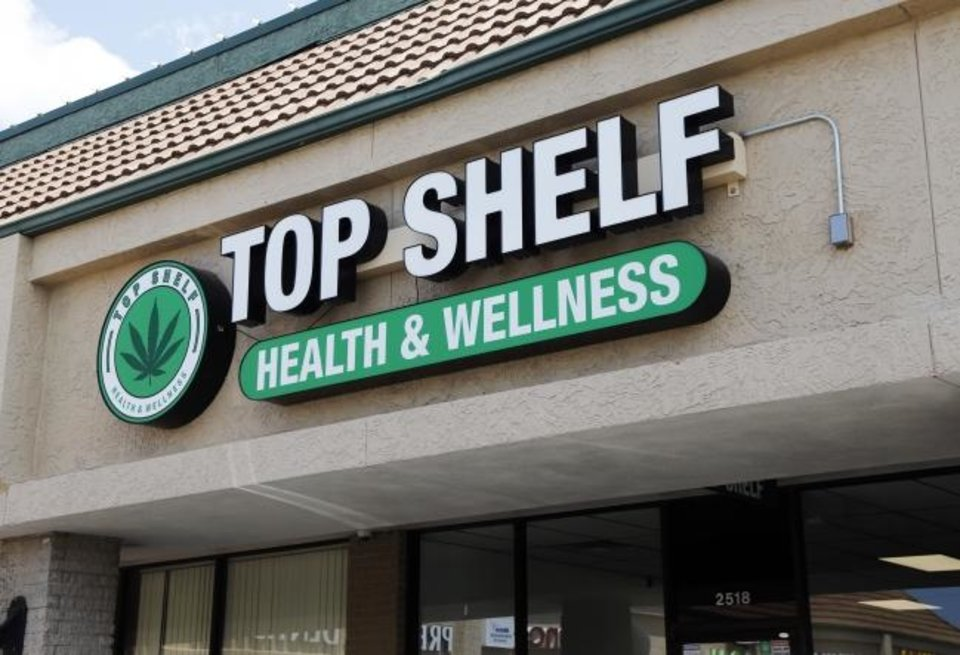Photo -  Top Shelf medical cannabis dispensary is at 2518 N Meridian Ave. [Nate Billings/The Oklahoman]