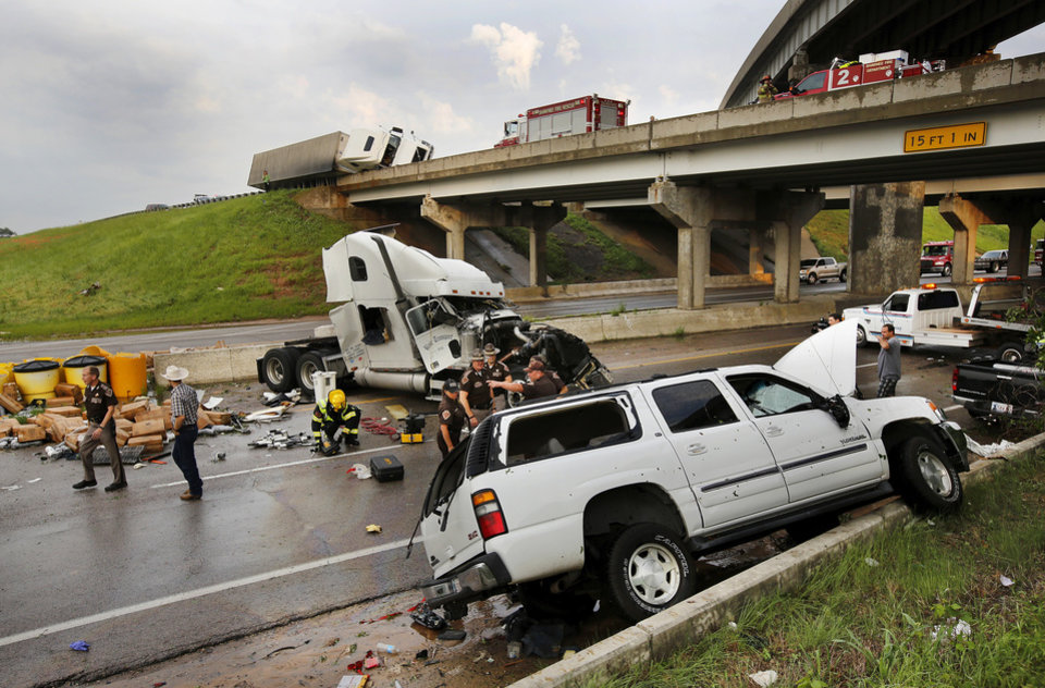 Photo -  This is the rig Ida Hernandez and her dog Bella were ejected from as a tornado hit it at I-40 at the junction with US 177 on the west side of Shawnee Sunday evening, May 19, 2013. Photo by Jim Beckel, The Oklahoman.   Jim Beckel -  THE OKLAHOMAN