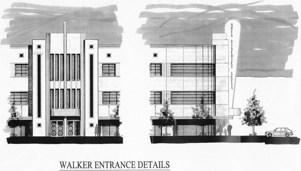SKETCH BY DAVID FOLTZ: The Arts District Lofts LLC, a partnership between Nick Preftakes and Mark Ruffin, proposes an $11.9 million, 160-loft complex that would mimic the Art Deco style of the nearby Civic Center and Oklahoma City Museum of Art.