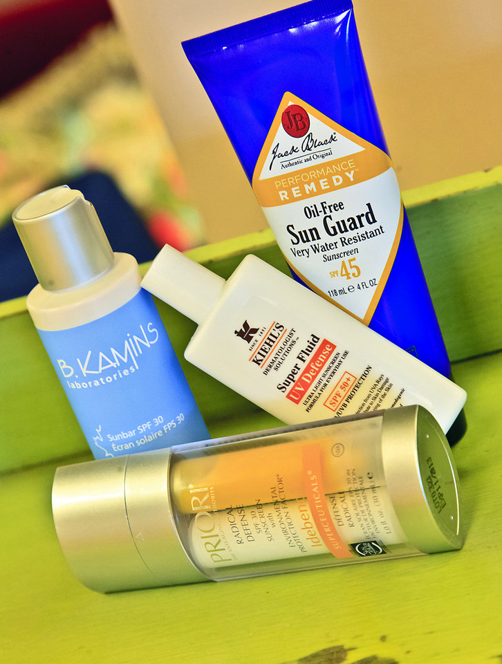 Sunscreen is a must during the summer. Priori, B. Kamins, Kiehl's and Jack Black, available at The MakeUp Bar. Photo by Chris Landsberger, The Oklahoman. <strong>CHRIS LANDSBERGER</strong>