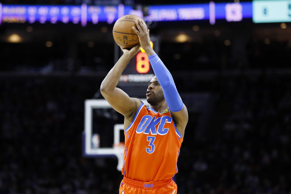 Photo - Oklahoma City Thunder's Chris Paul goes up to shoot during the first half of an NBA basketball game against the Philadelphia 76ers, Monday, Jan. 6, 2020, in Philadelphia. (AP Photo/Matt Slocum)