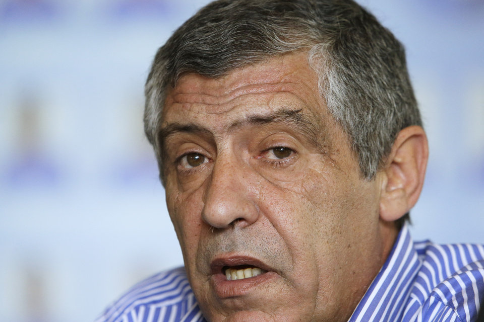 Photo - Greece soccer coach Fernando Santos of Portugal announces the national soccer squad in Athens on Monday May 19, 2014. Greece will play in Group C with Ivory Coast, Japan and Colombia at the World Cup in Brazil. (AP Photo/Thanassis Stavrakis)