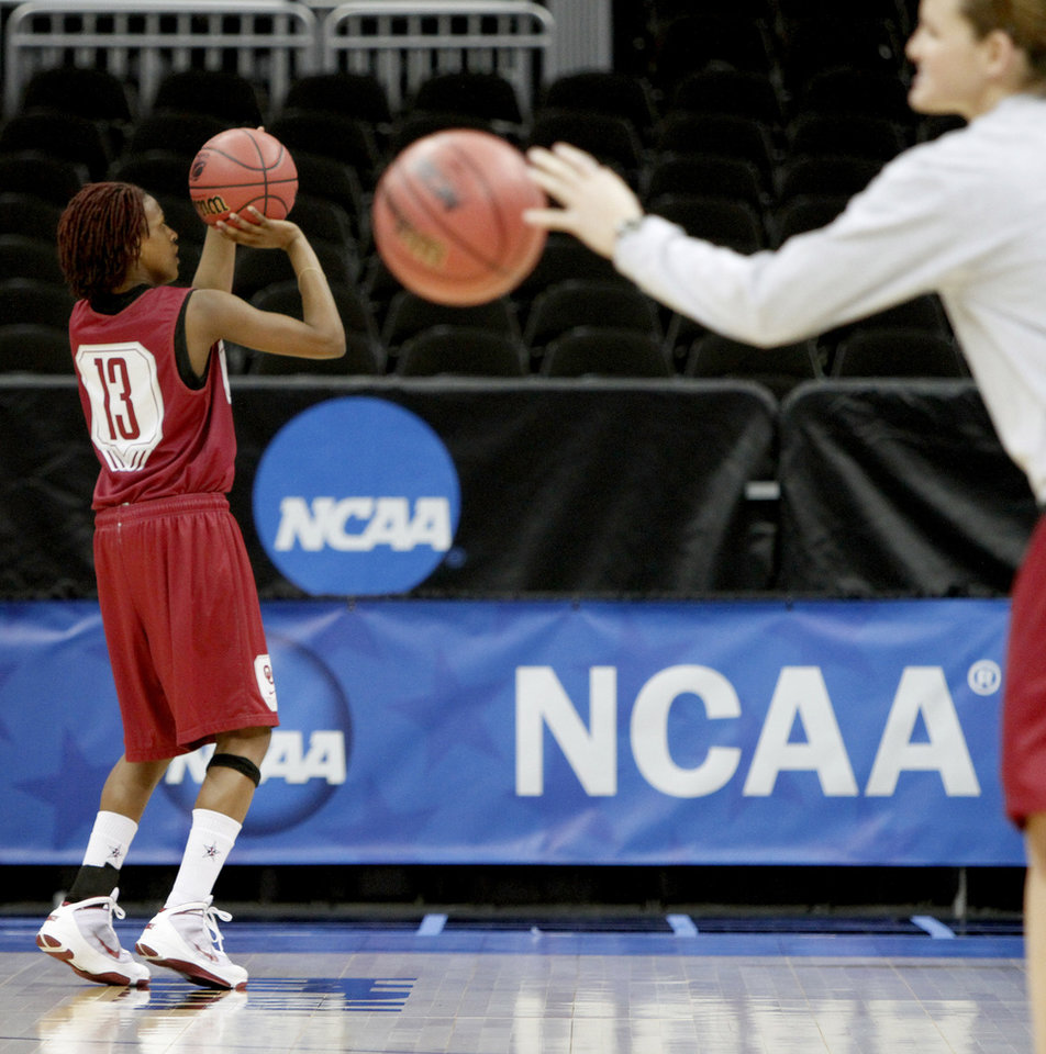 OU's Danielle Robinson lines up a shot during practice in Kansas City, Mo., on Saturday, March 27, 2010. The University of Oklahoma will play Notre Dame in the Sweet 16 round of the NCAA women's  basketball tournament on Sunday.